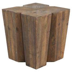 Ann Rustic Lodge Aged Pine Wood Side End Table