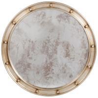 Jack Hollywood Regency Large Round Antique Silver Leaf Mirror