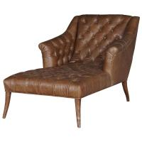 Roald Rustic Lodge Brown Leather Tufted Armchair Chaise ...