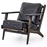 Rider Mid Century Modern Oak Black Leather Armchair ...