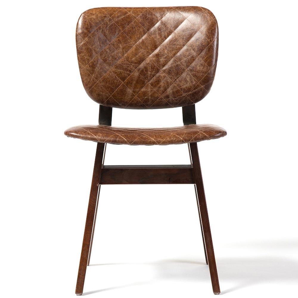 Drifter industrial loft brown leather quilt oak dining chair pair kathy kuo home