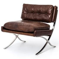 Harvey Industrial Loft Brown Leather Stainless Steel ...