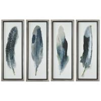Plume Global Bazaar Feather Prints - Set of 4 | Kathy Kuo Home