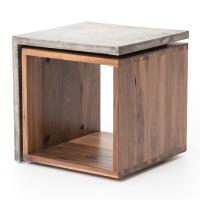 Concrete Industrial Style Wood Cube Side Table | Kathy Kuo ...