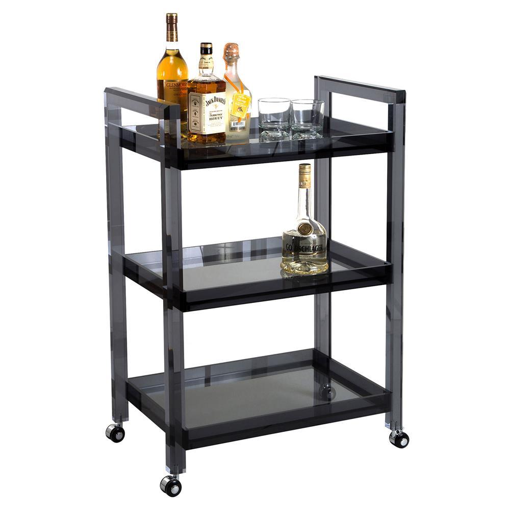 Pennington Modern Classic Smoke Grey Acrylic Glass Bar Cart