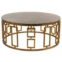 Lazar Global Bazaar Antique Brass Round Stone Coffee Table ...