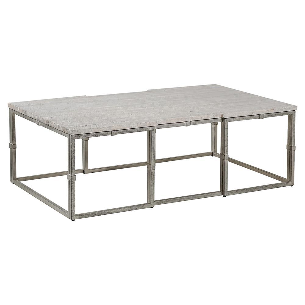 Annabel Rustic Grey Wood Brushed Metal Coffee Table
