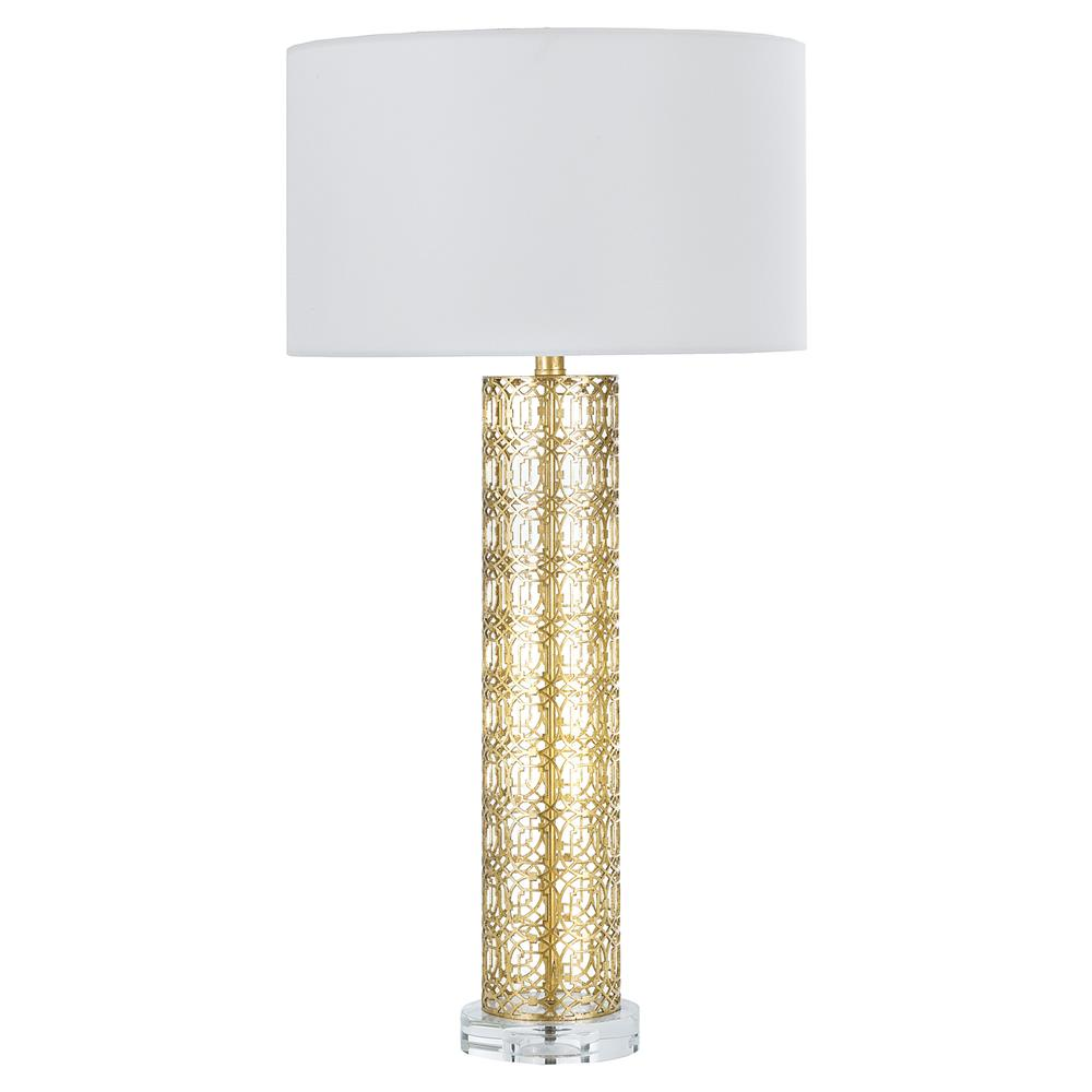 Dayna Modern Column Gold Cage Table Lamp