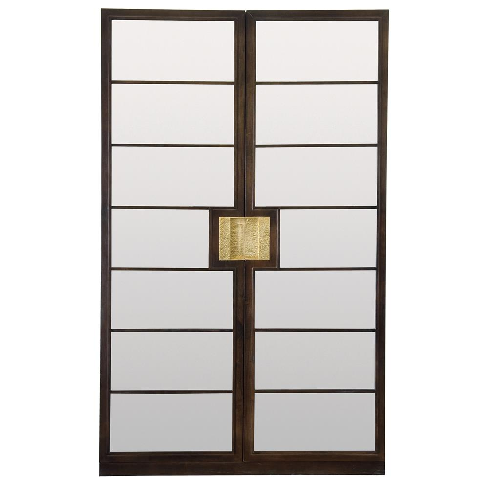Crawford Modern Regency Sapele Veneer Mirrored Curio