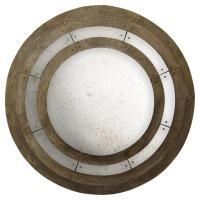 Darcel Rustic Brown Wood Glass Concentric Round Wall Mirror