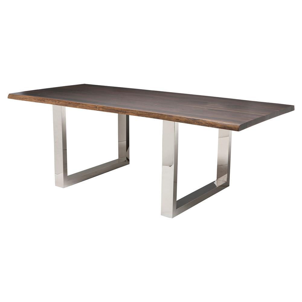 Zinnia Industrial Brown Oak Stainless Steel Dining Table 78w