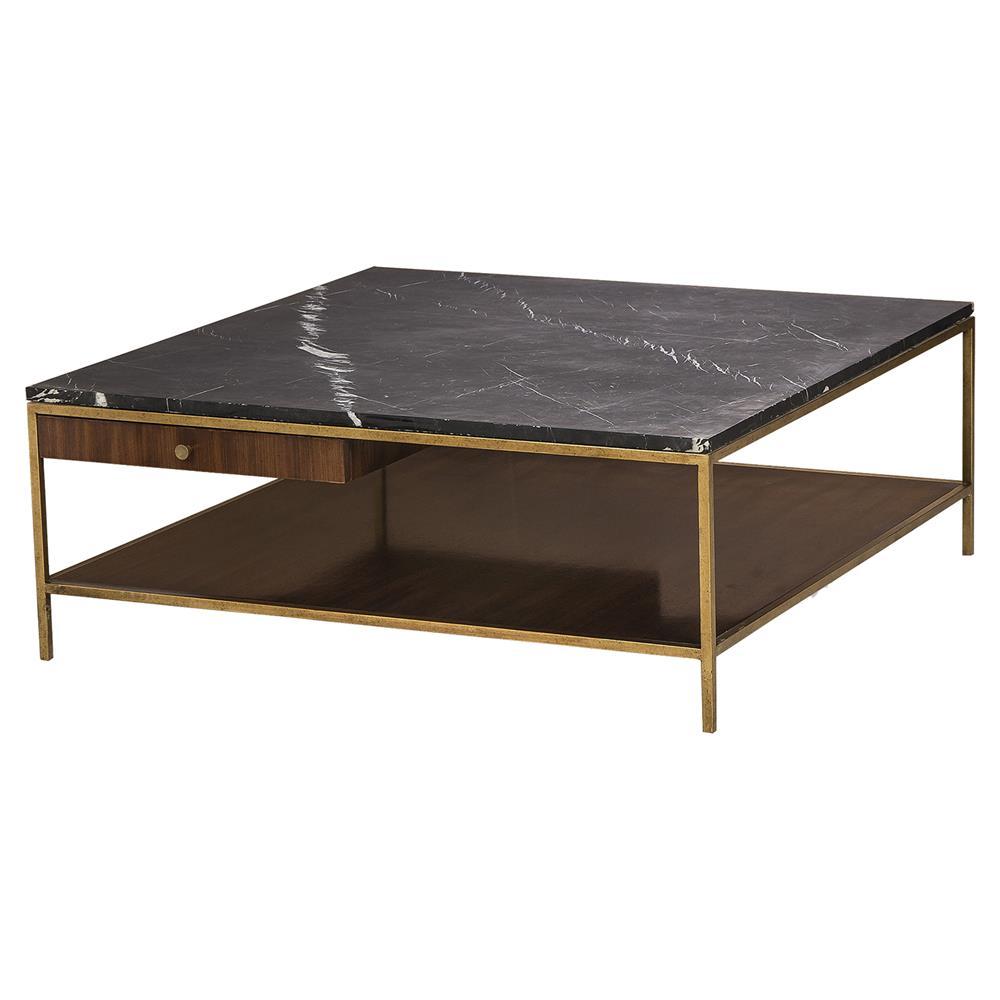 Resource Decor Copeland Modern Walnut Gold Trim Marble Top