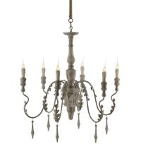 Charlemagne French Country Grey Wash 6 Light Chandelier ...