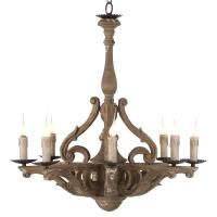 Castille Rustic Carved Wood European 8 Light Chandelier ...