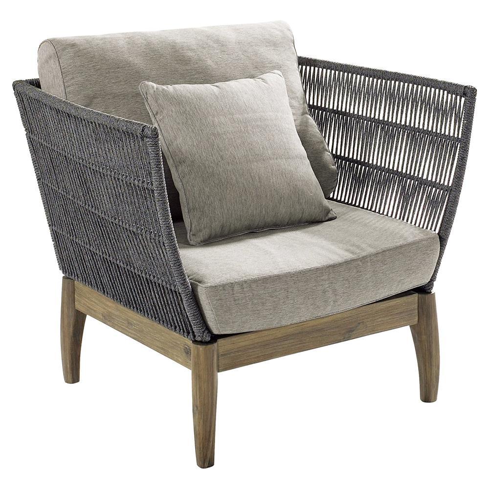 Cade Coastal Regatta Rope Acacia Wood Outdoor Lounge Chair