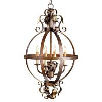 Scrolled Wrought Iron Sphere 4 Light Chandelier   Kathy ...