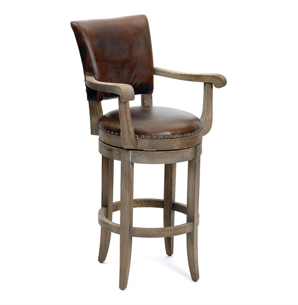 Modern Rustic Lodge Top Grain Leather Bar Stool