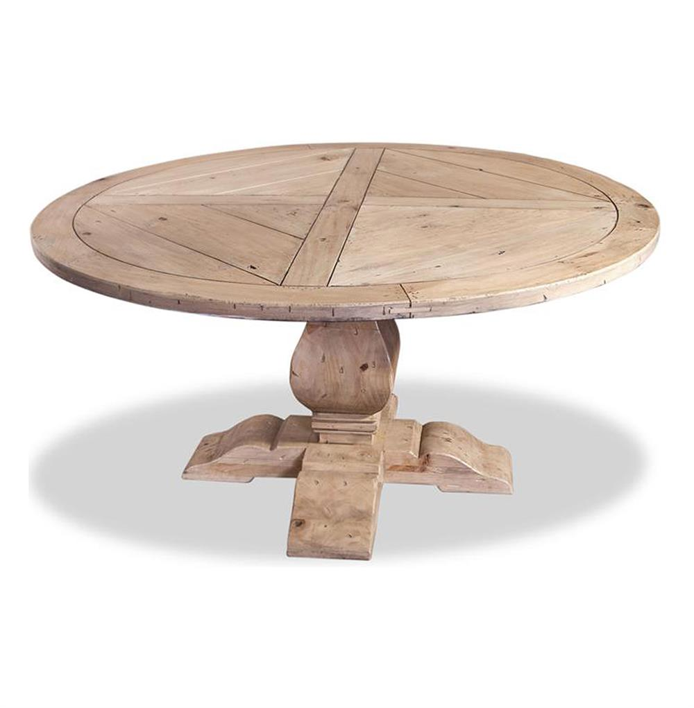 Ludlum Neoclassical Rustic Light Wood 60quotd Round Dining Table