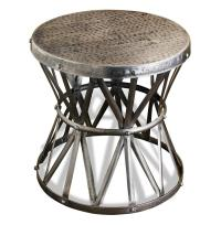 Araby Rustic Hammered Metal Antique Silver Side Table- Large