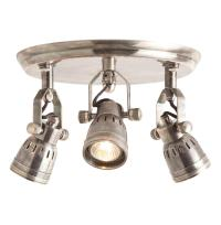 Trey Industrial Loft 3 Light Vintage Silver Flush Mount ...