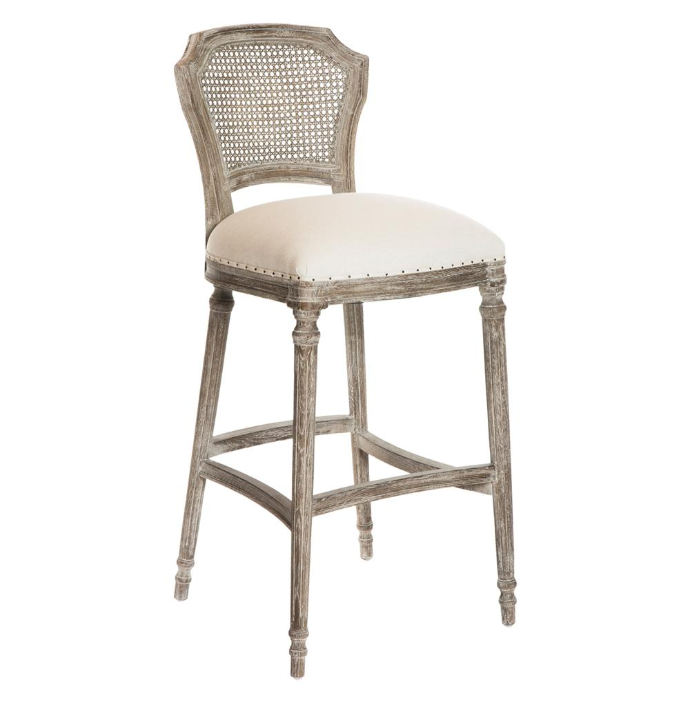 Camilla French Country Washed Taupe Linen Barstools