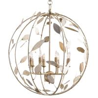 Poussin French Country Champagne Leaf Garden Globe Chandelier