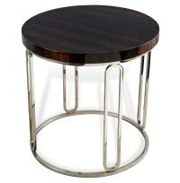 Barcelona Polished Eucalyptus Wood Round Silver Side Table ...