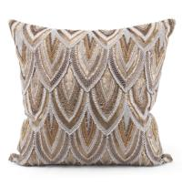 Cortez Copper Gold Beaded Hand Embroidered Pillow - 22x22 ...