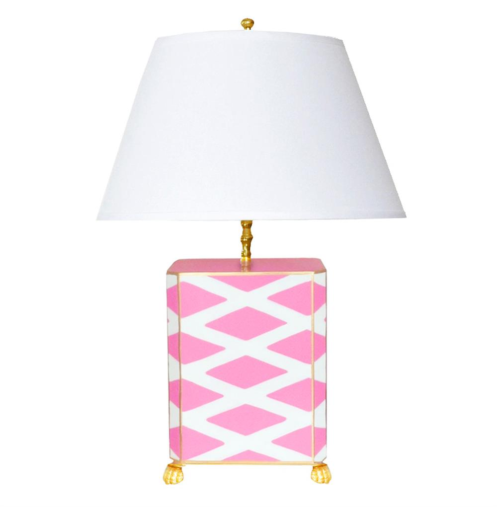 Agar Hand Painted Diamond Gold Pink Table Lamp
