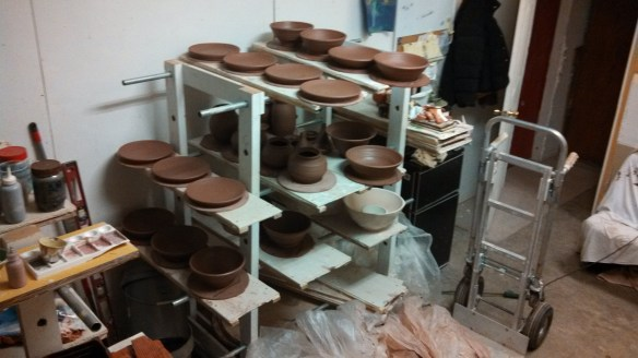The dark brown pots are what I made tonight.