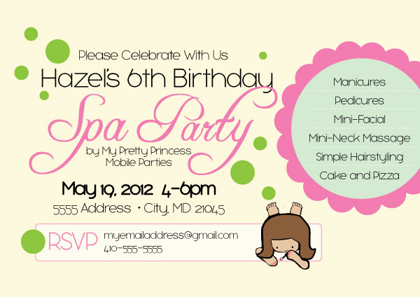 Spa Party Invitation - spa invitation