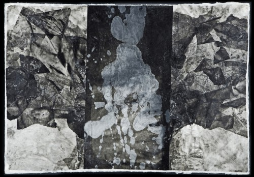 """Axis Mundi Inks, wax, rice papers and handmade papers mounted on board 31""""w x 21""""h"""