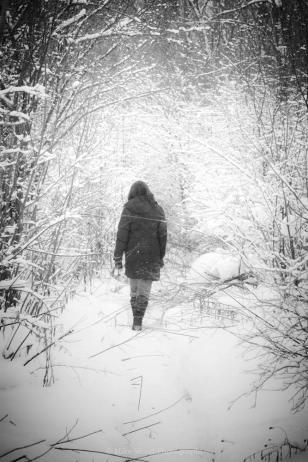 snow, woman