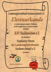 """Urkunde """"Verdienter Verein"""" vom LAV Sachsen-Anhalt"""
