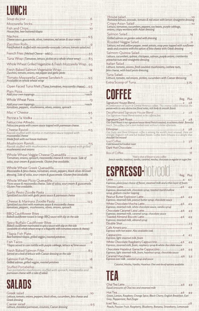 Menu \u2013 KAVA Coffee House