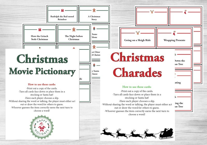 Indoor Winter Games Holiday Charades/Pictionary w/free printable