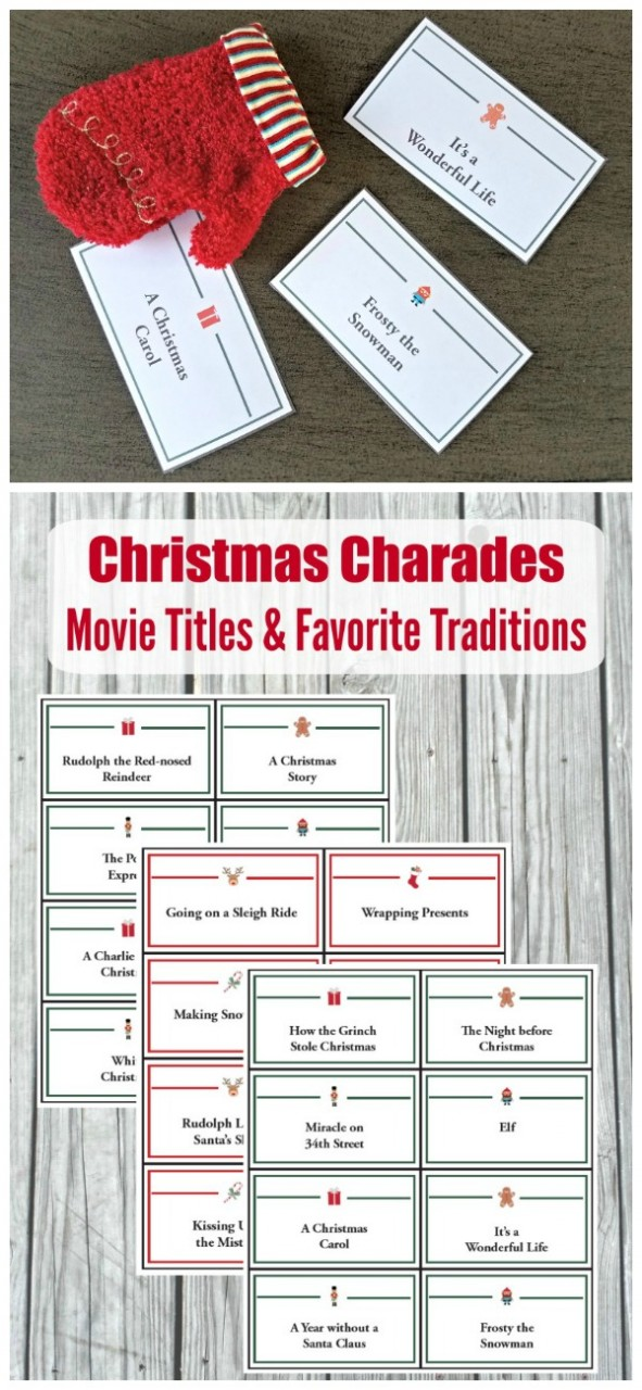Holiday Charades Games and Pictionary Words (printable Cards