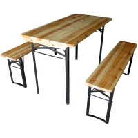 LARGE OUTDOOR FOLDING BEER TABLE BENCH SET TRESTLE GARDEN ...