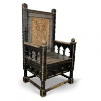 Medieval Prop Hire  Large Carved Throne Chair - Keeley Hire
