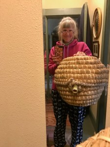 """Here is my new """"ball style"""" skep, with the bamboo entrance."""