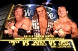 Triple H vs Shawn Michaels vs Chris Benoit Wrestlemania 20