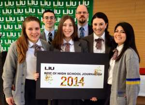 The Phoenix editors at the LIU Post awards. (From left to right) Front Row: Kimberly Capuder, Emilia Klapak, Emma Greco, Amanda Duncklee. Back Row: Timothy McKenna and Mr. Flood.