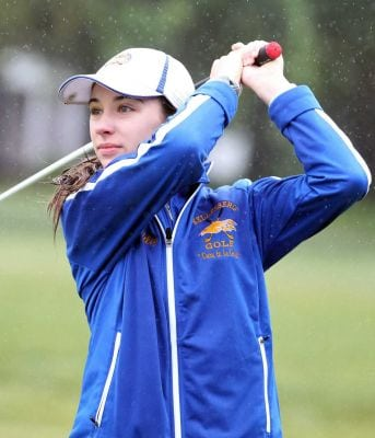Ashley Harding from Kellenberg drives at the CHSAA girls golf state championships at Eisenhower Park in East Meadow, New York on June 2, 2015 Photo Credit: Patrick E. McCarthy