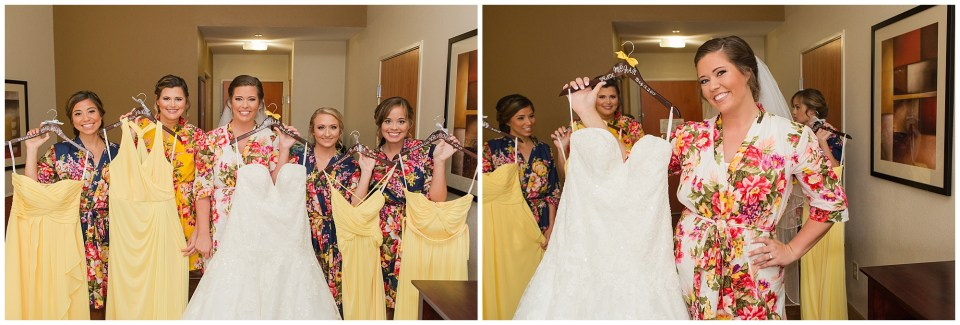 bride and bridesmaids with their dresses