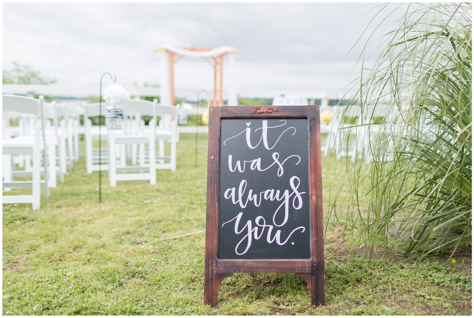chalk board sign for wedding ceremony