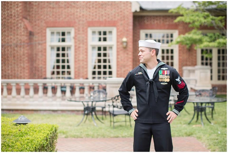 groom in Navy uniform