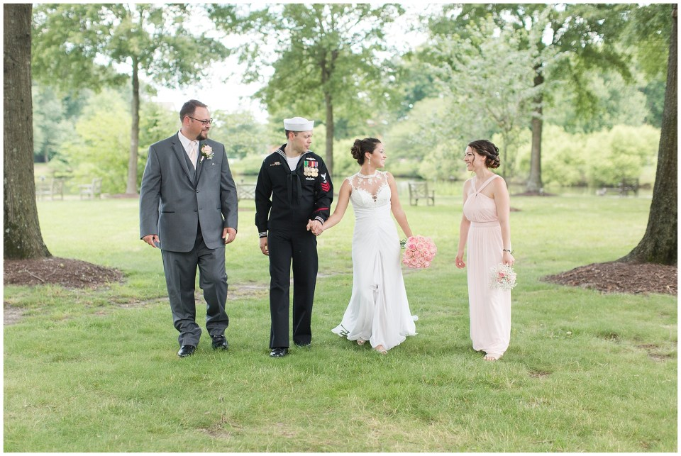 causal wedding party shot