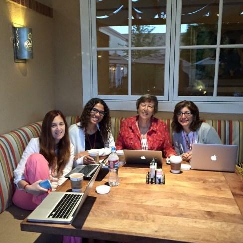 The six a.m. writing club! Me, Jess Bylander, Laura Drake, Christine Orchanian Adler
