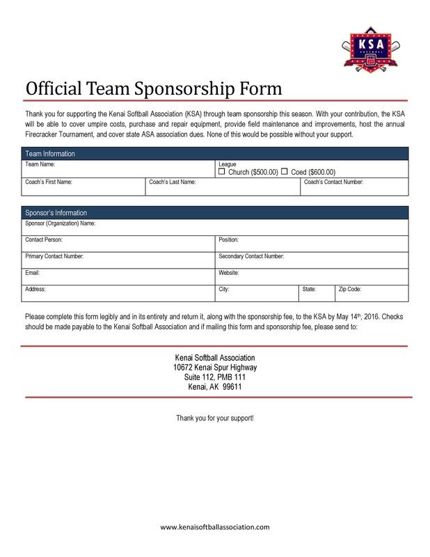 Forms - Kenai Softball Association