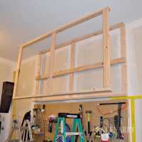 DIY Garage Storage: Ceiling Mounted Shelves + Giveaway